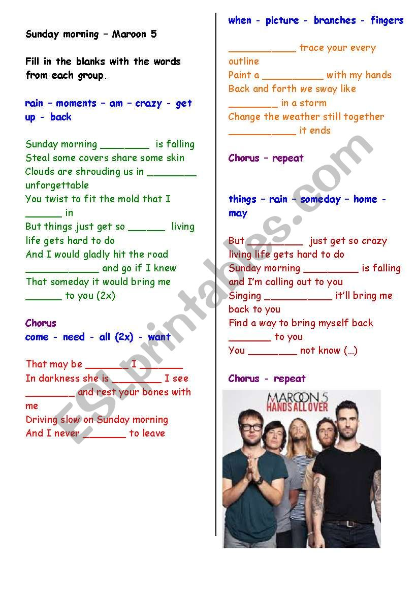 Filling in the blanks song : Sunday morning (Maroon 5) - with answer key