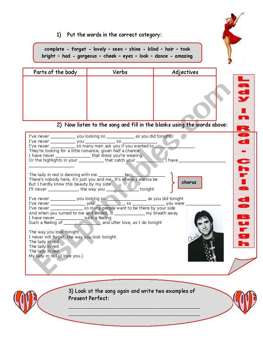LADY IN RED - Present Perfect Song with exercises and answer key