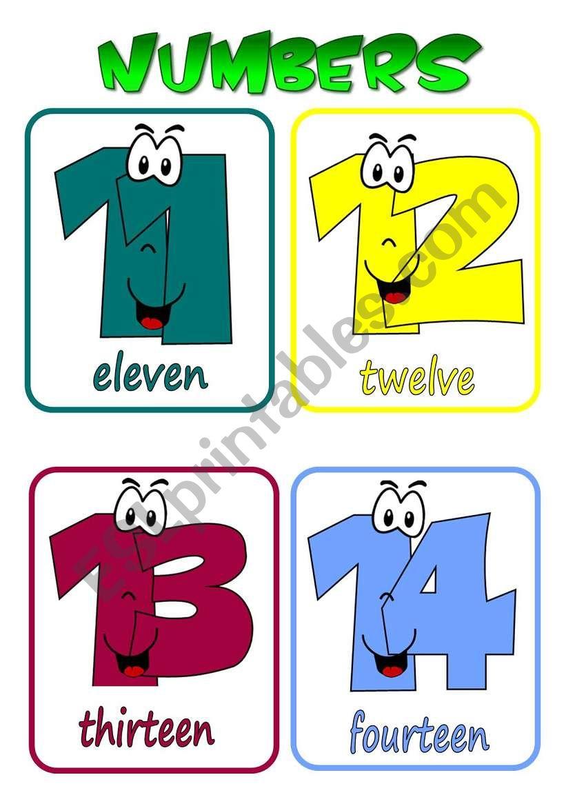 Numbers 11-20 flashcards worksheet