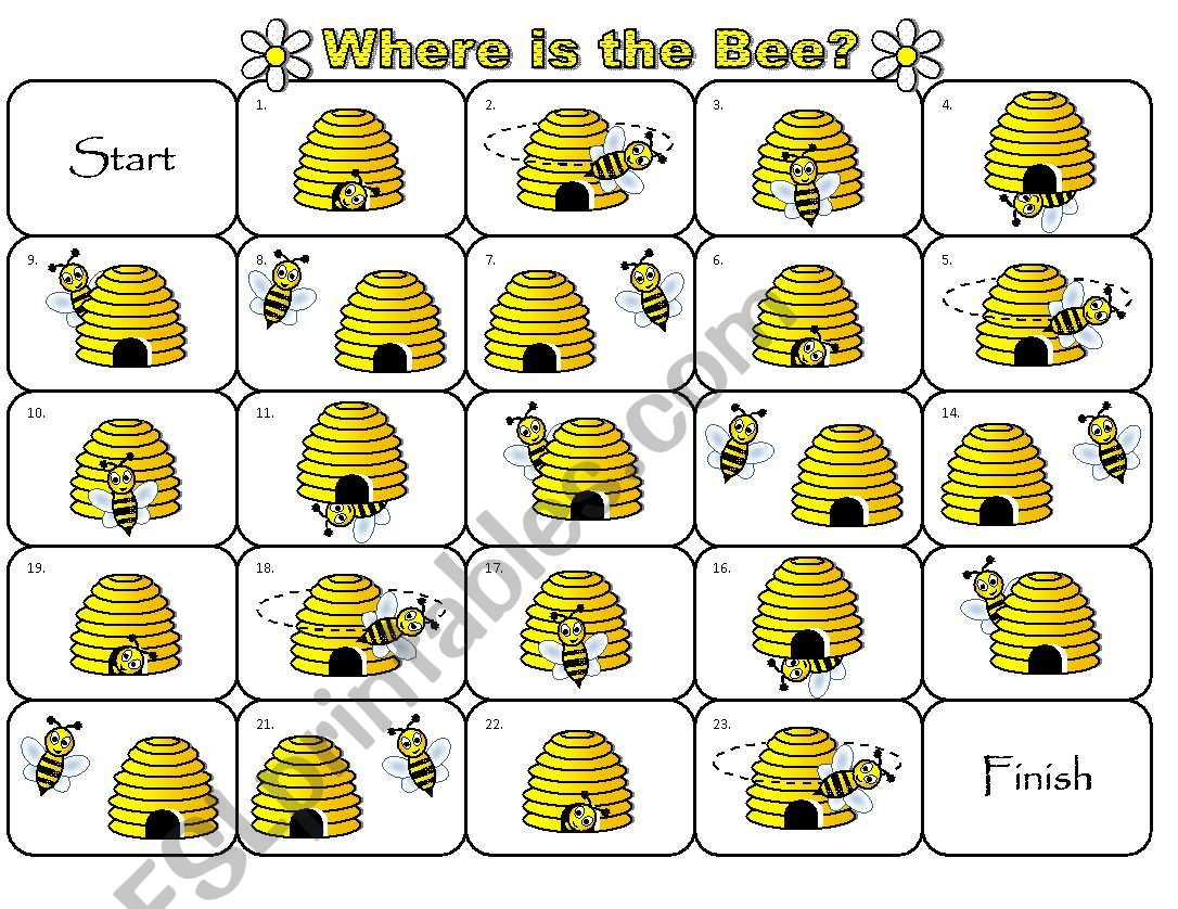 Where is the Bee Preposition Dominoes and Memory Cards Part 3 of 3