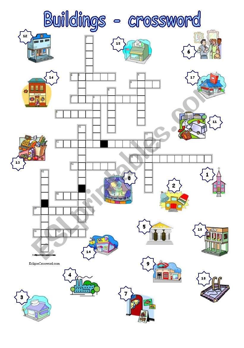 Buildings - crossword with key