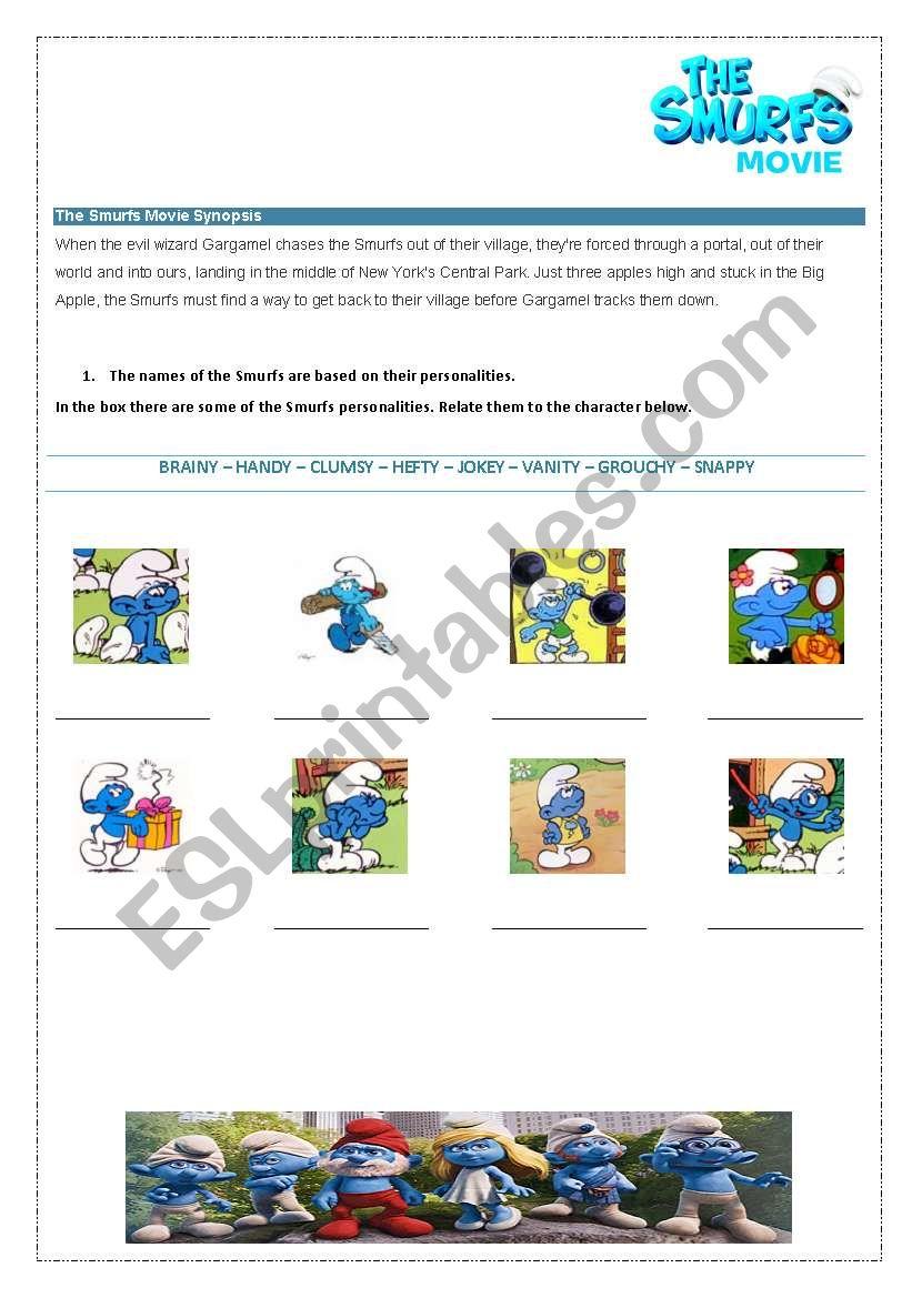 Smurfs - Movie Activity worksheet
