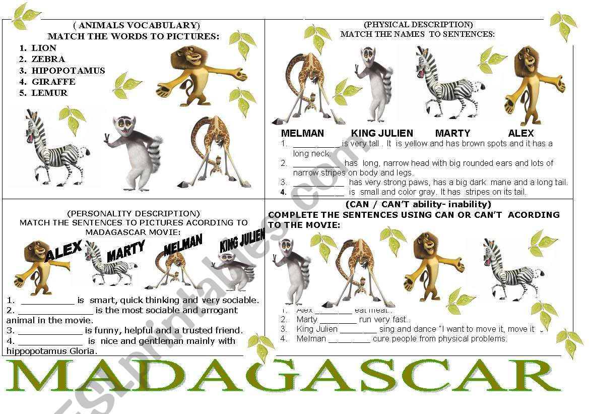 MADAGASCAR 4 EXERCISES IN ONE PAGE  - ESL worksheet by my favorite