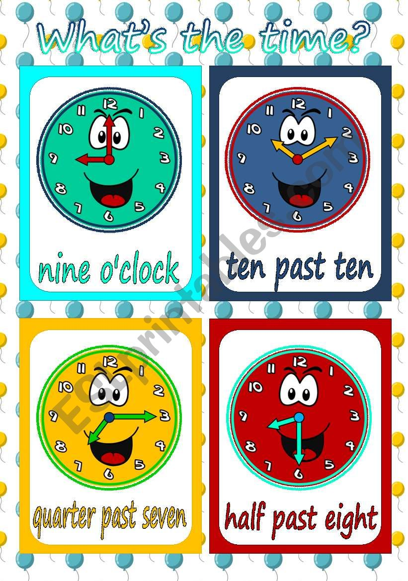 Telling The Time Flashcards Esl Worksheet By Mada 1