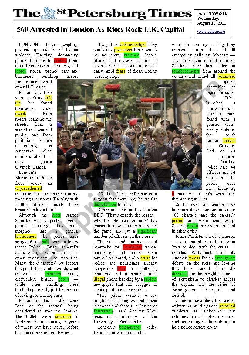 London Riots worksheet