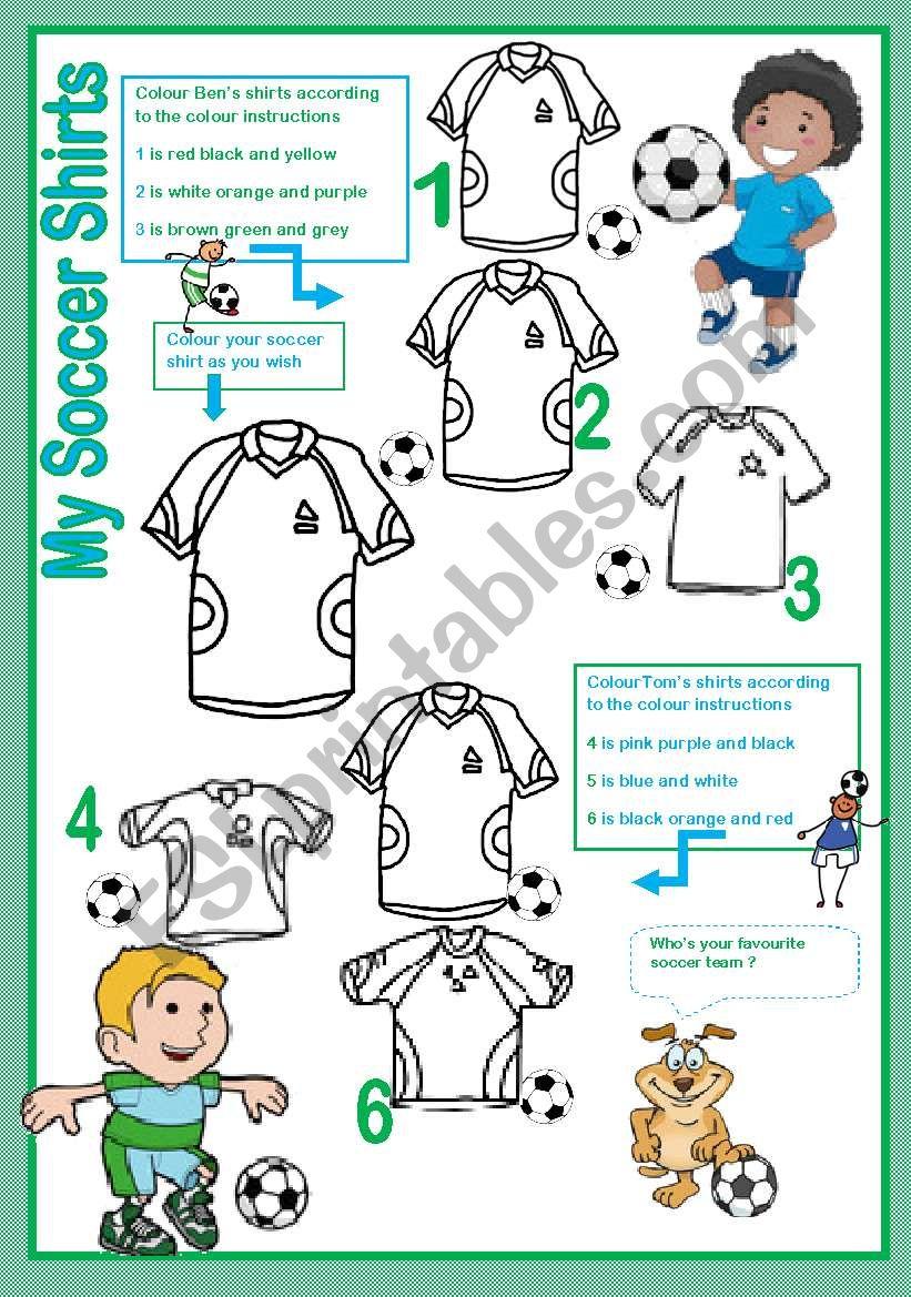 My soccer shirts worksheet