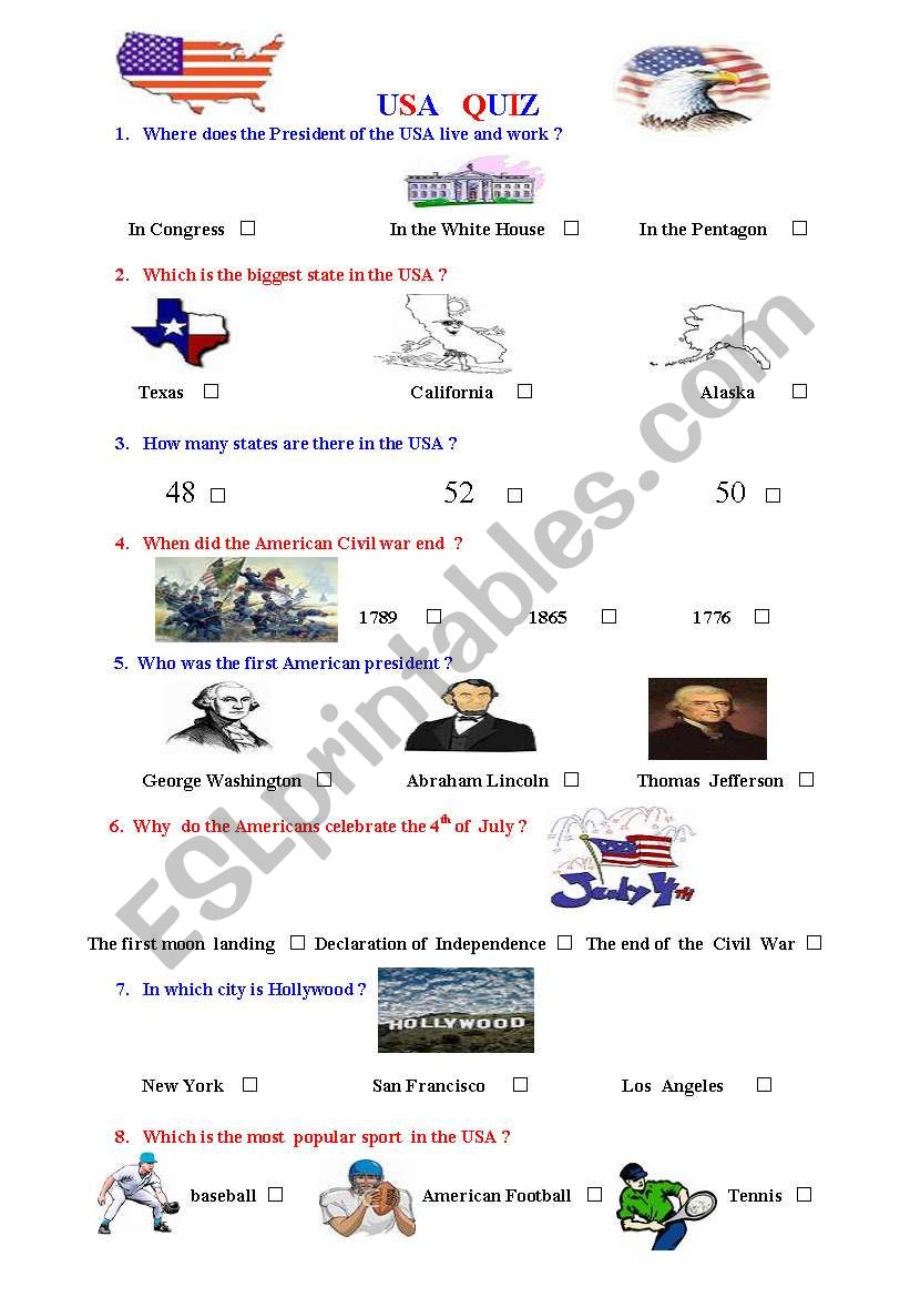 How much do you know about the USA ? Quiz