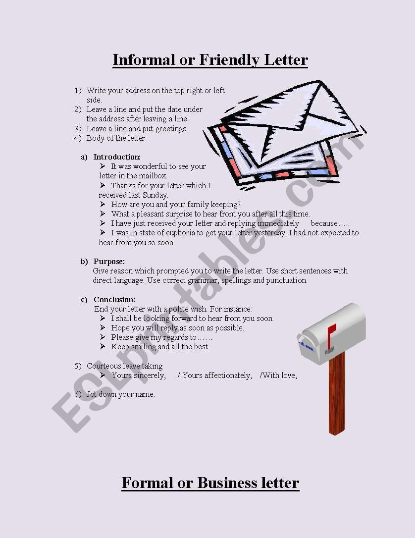 Guidelines for letter writing worksheet