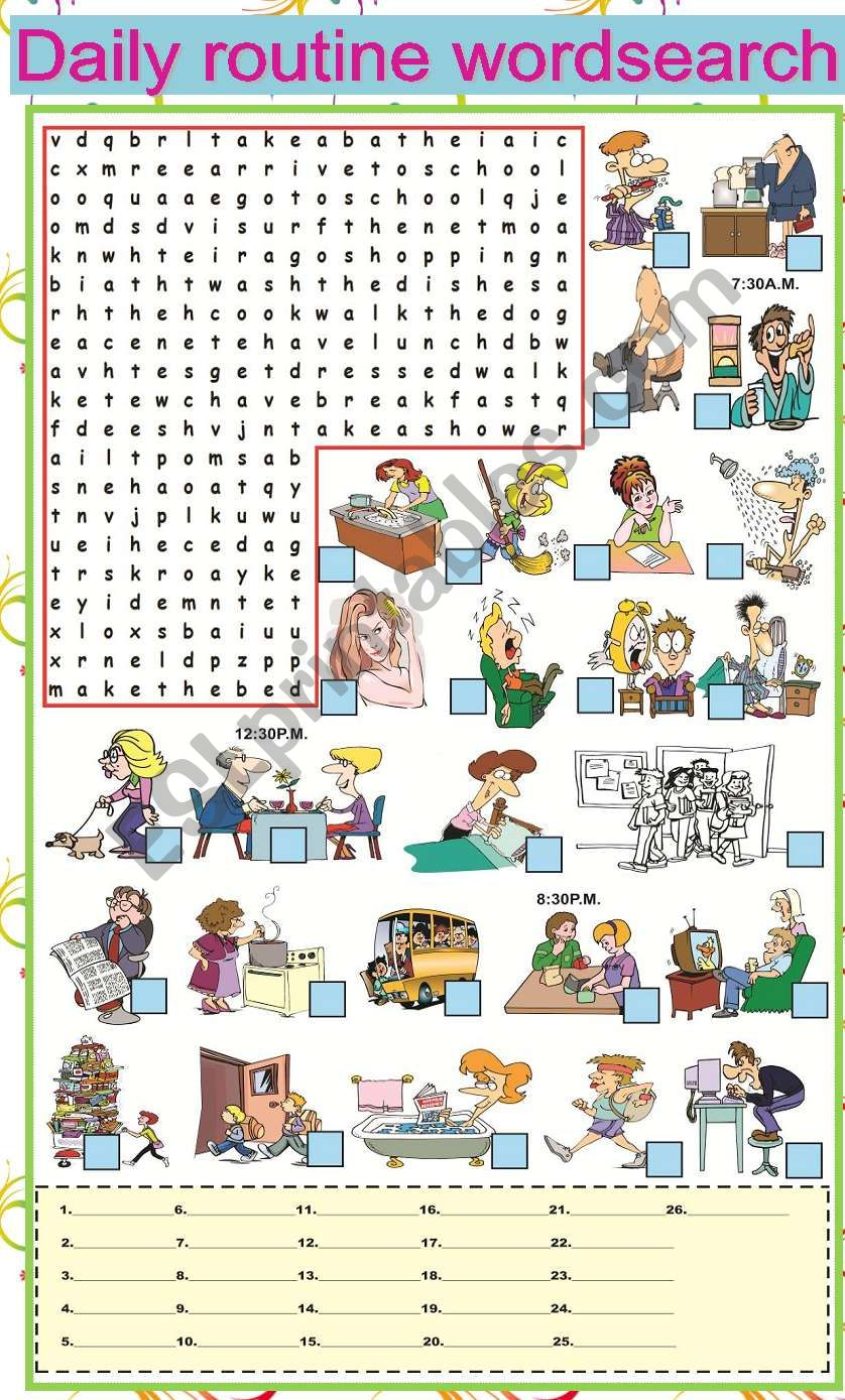 Daily Routine Wordsearch worksheet