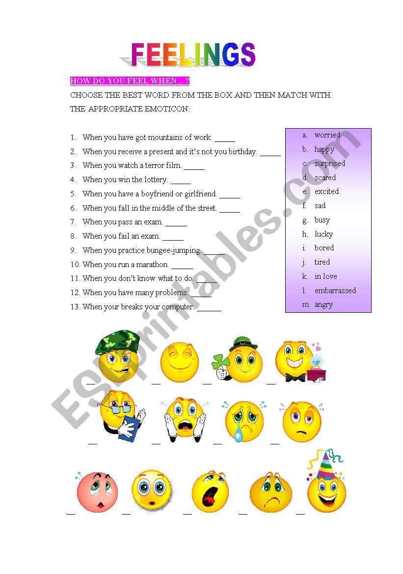 Feelings worksheet