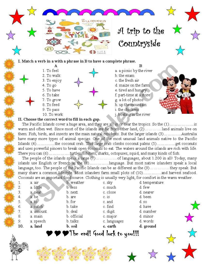 A trip to the countryside worksheet