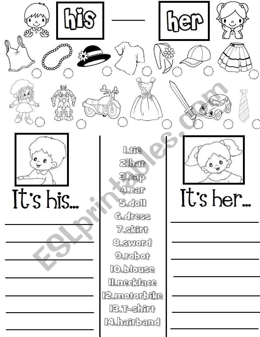 His -Her (practice sheet) worksheet
