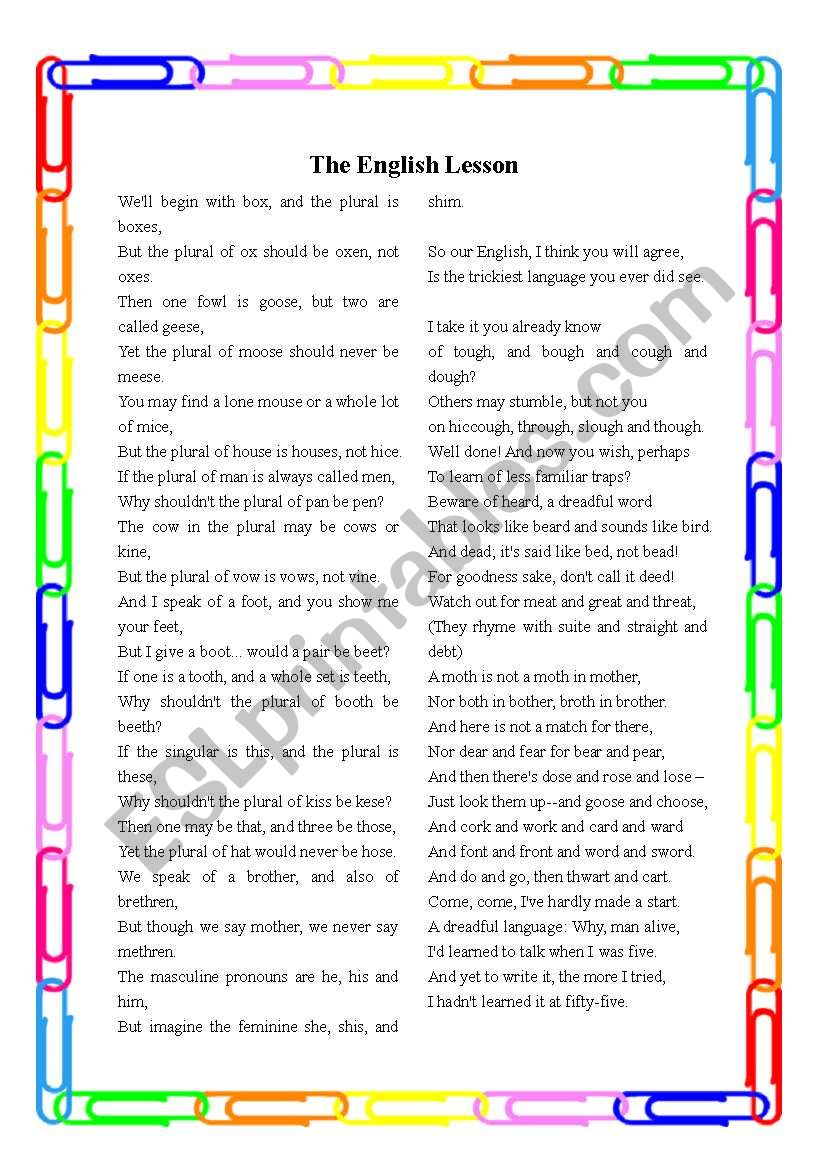 The English Lesson (Poem, Short Exercises, Speaking and Writing Activities, and Teaching Notes)