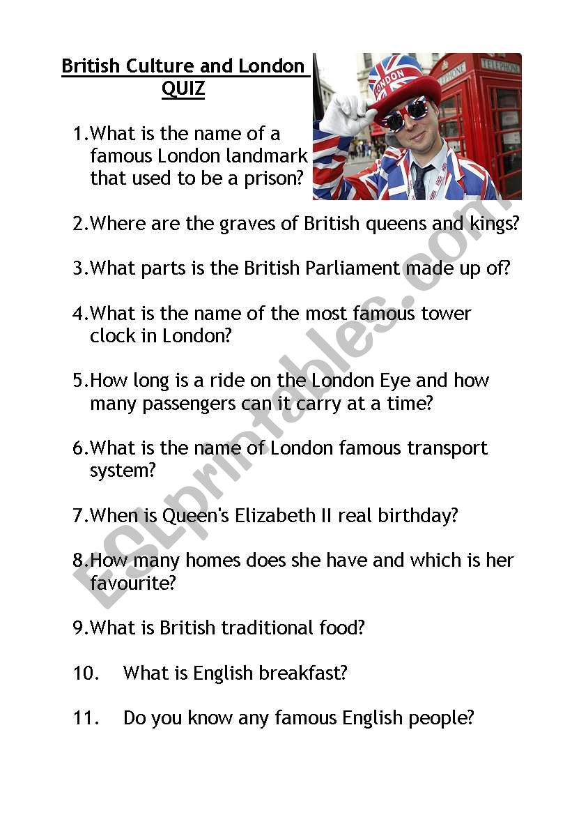 British Culture and London QUIZ with KEY!