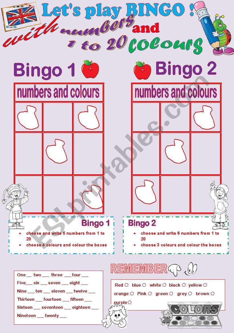let´s play bingo ! worksheet