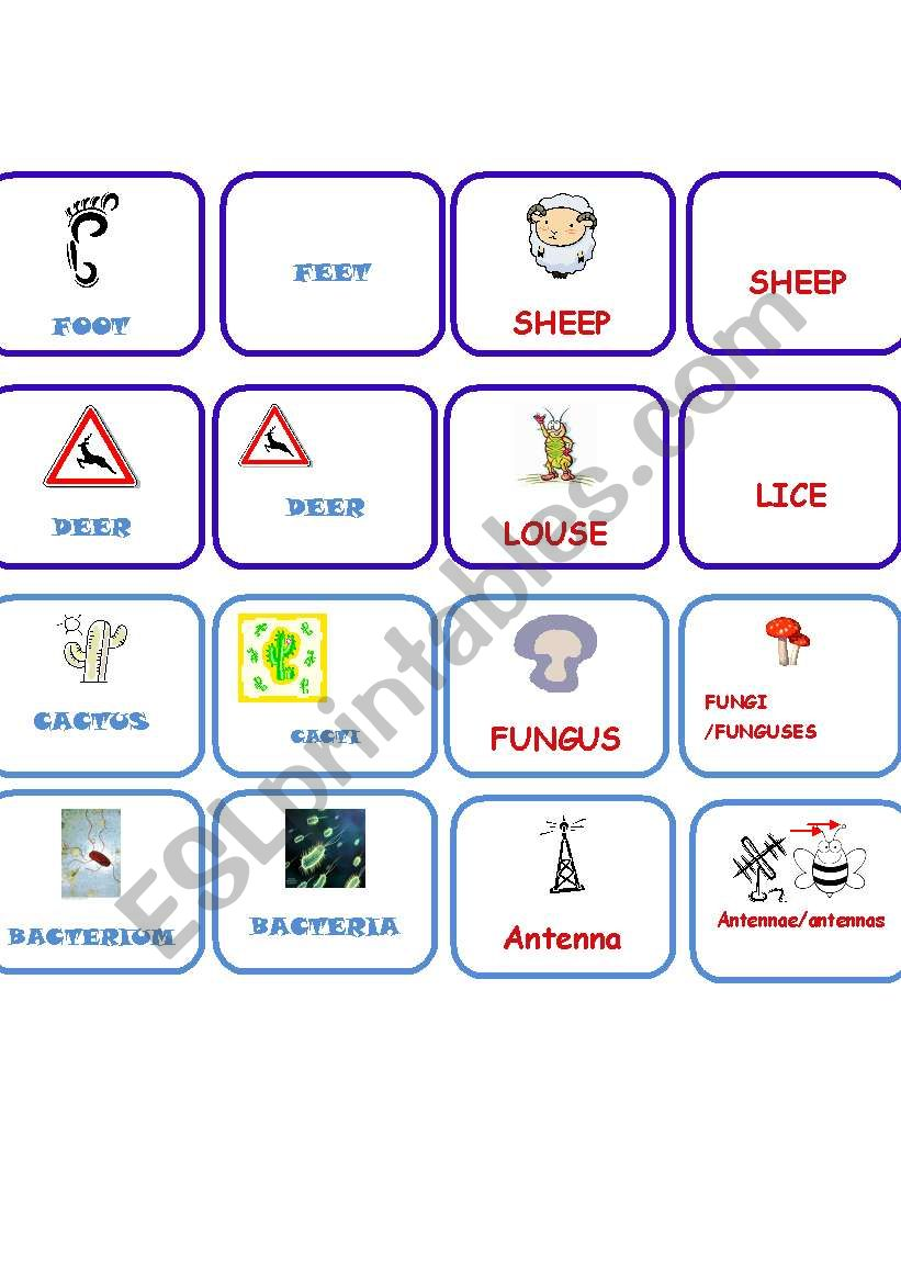 Plural memory part 2 worksheet