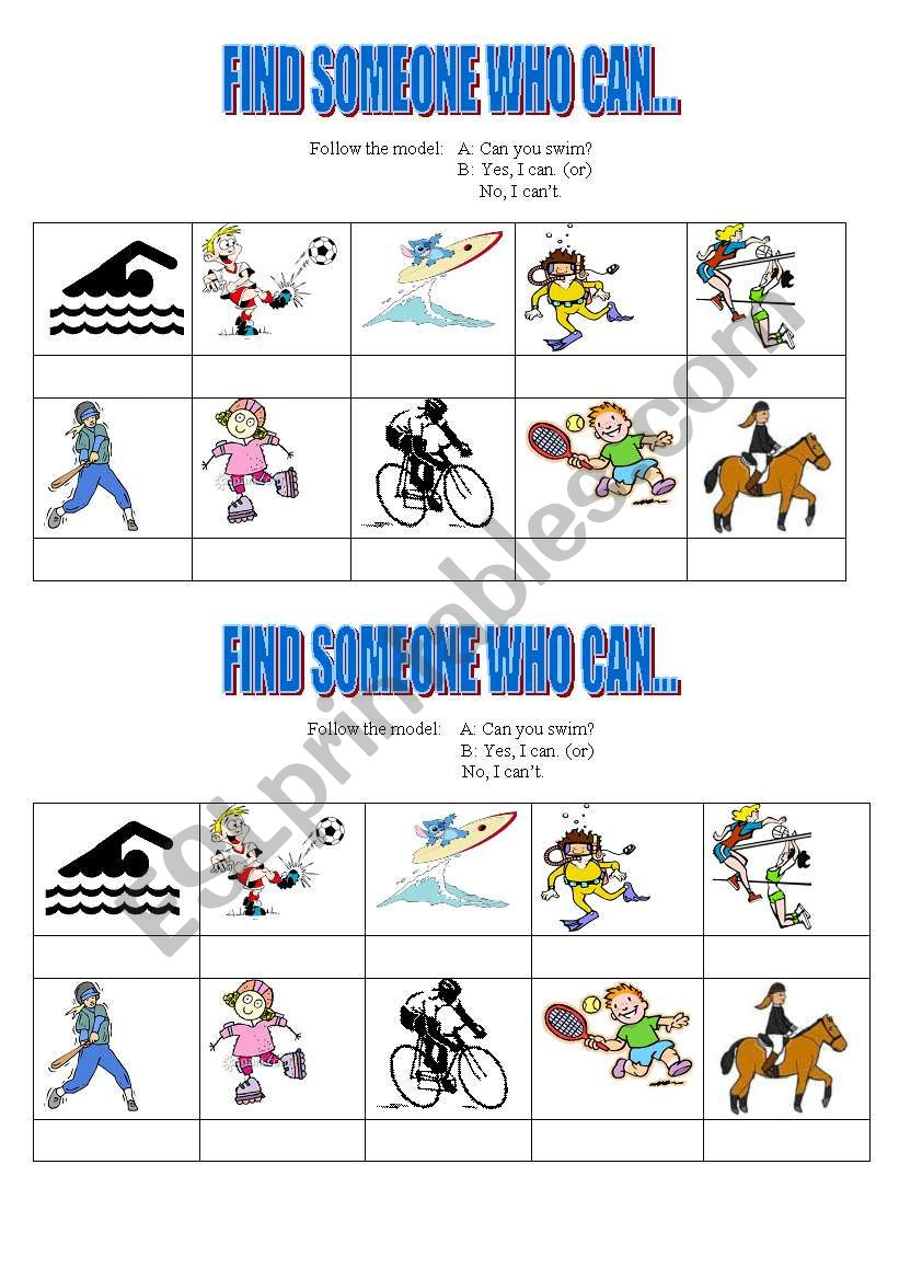 Find someone who can: sports worksheet