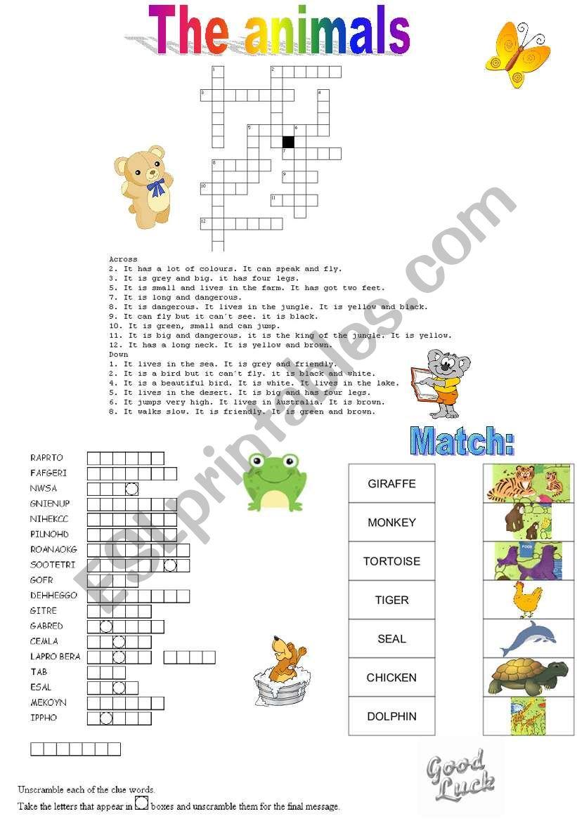 THE ANIMALS worksheet