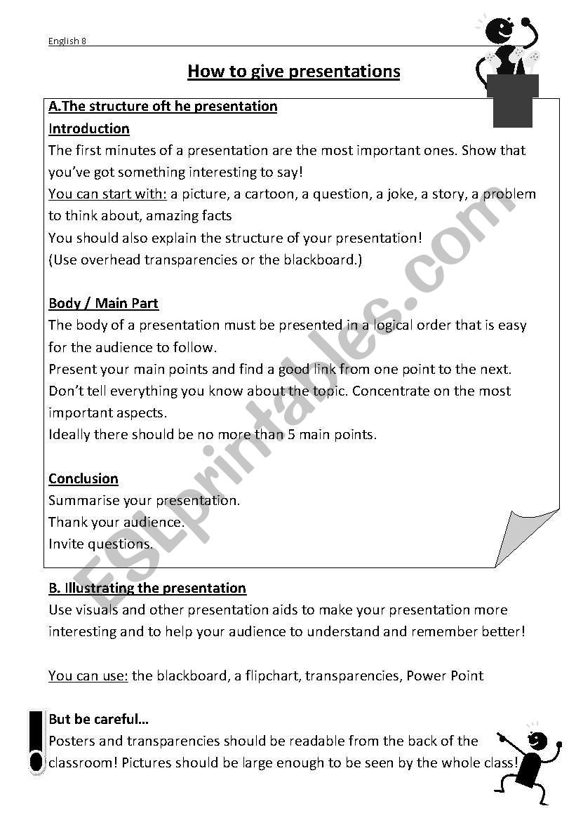How to present in English  worksheet