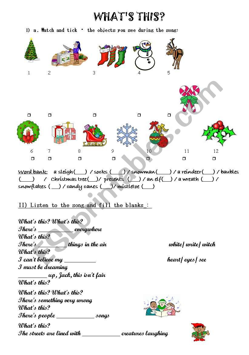 English worksheets: NIGHTMARE BEFORE CHRISTMAS- WHAT´S THIS SONG