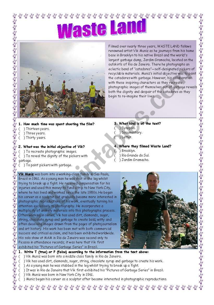 WASTE LAND  worksheet