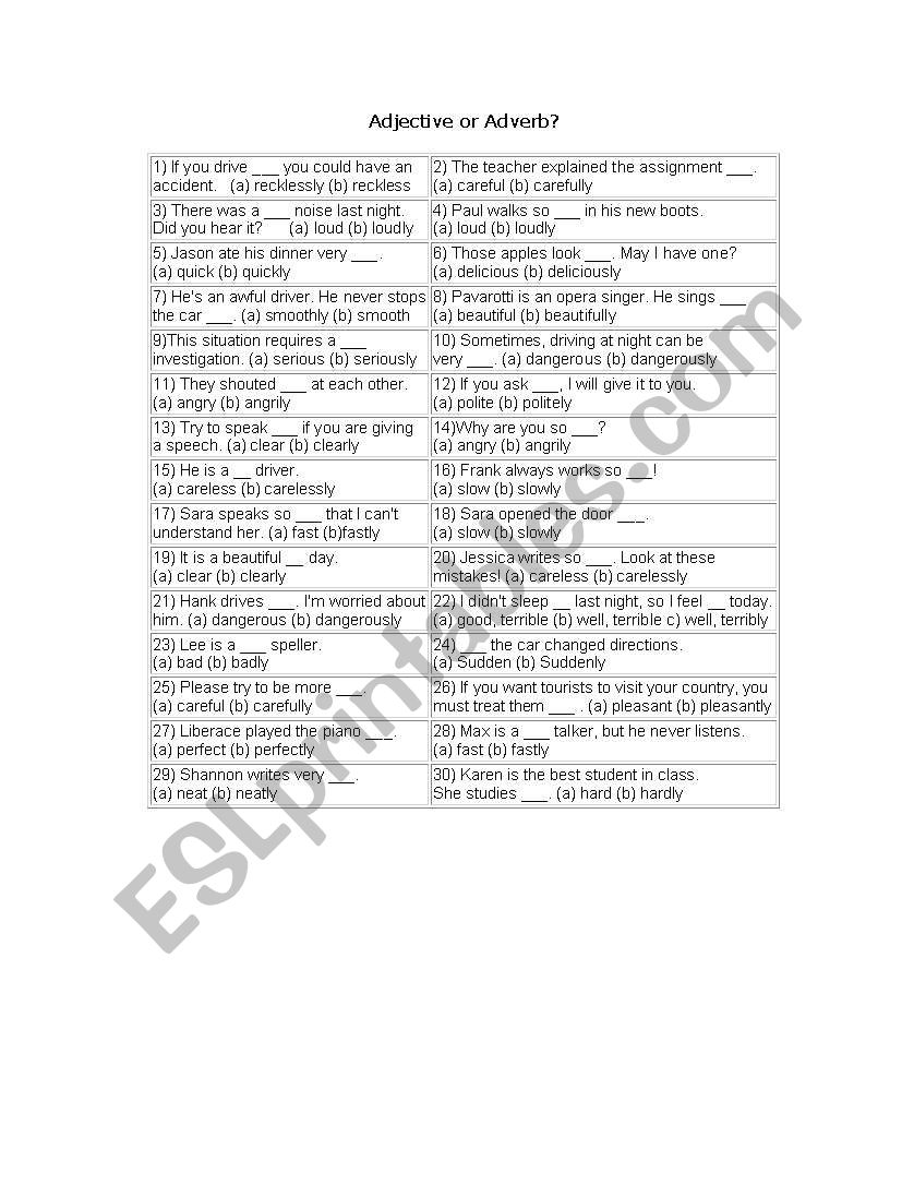 English worksheets: adjectifs
