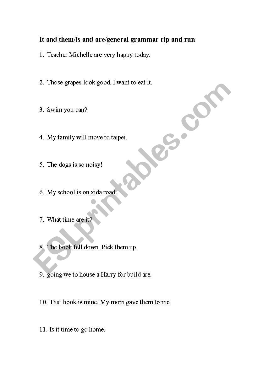 Grammar review worksheets