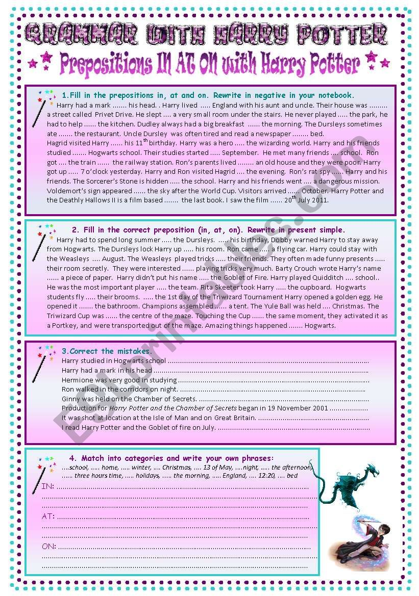 Prepositions IN AT ON with HARRY POTTER (7 pages, BW, key, bookmarks)