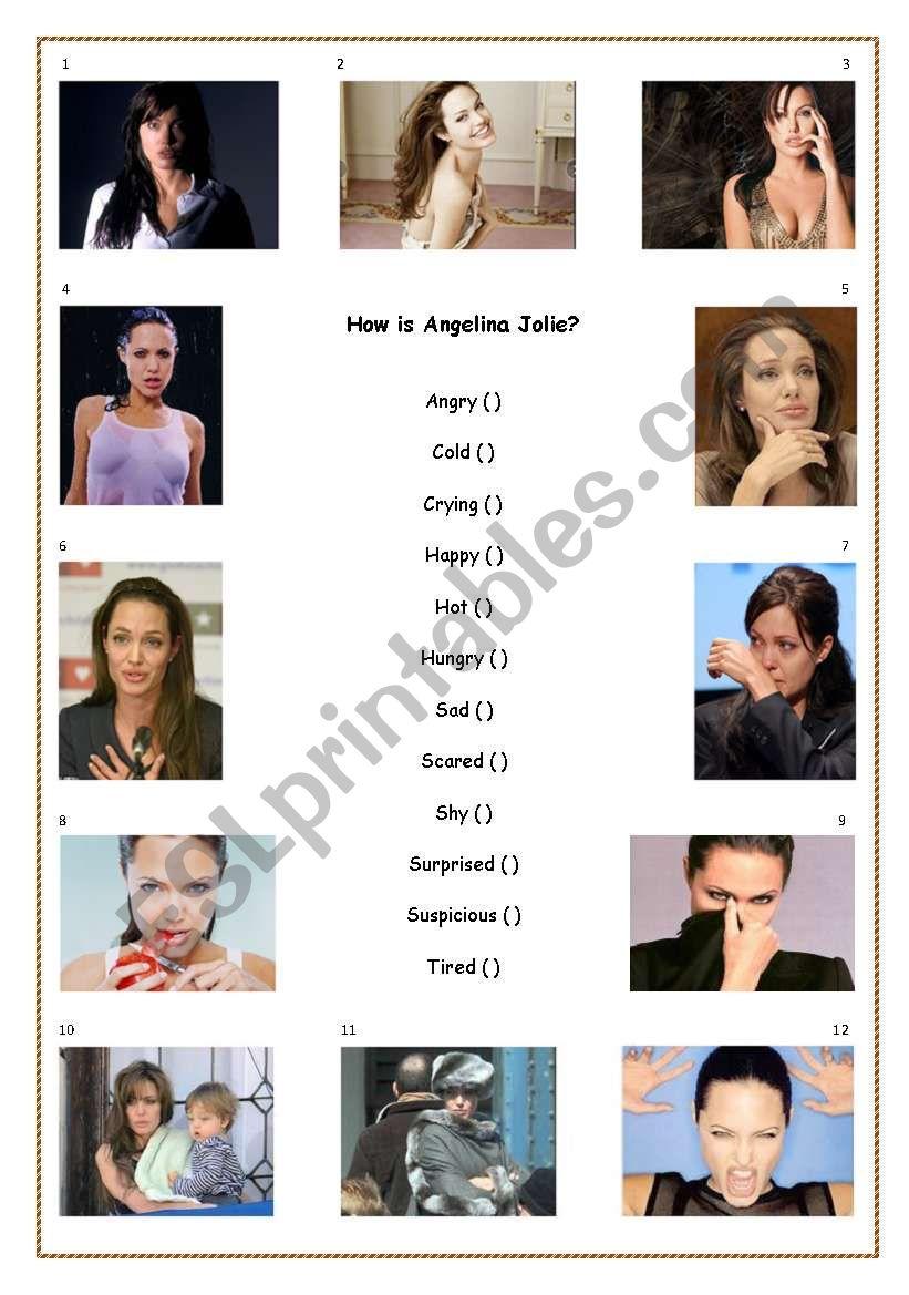 How is Angelina Jolie? worksheet