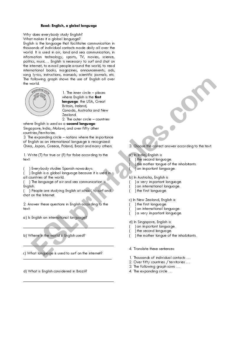 English - a global language worksheet