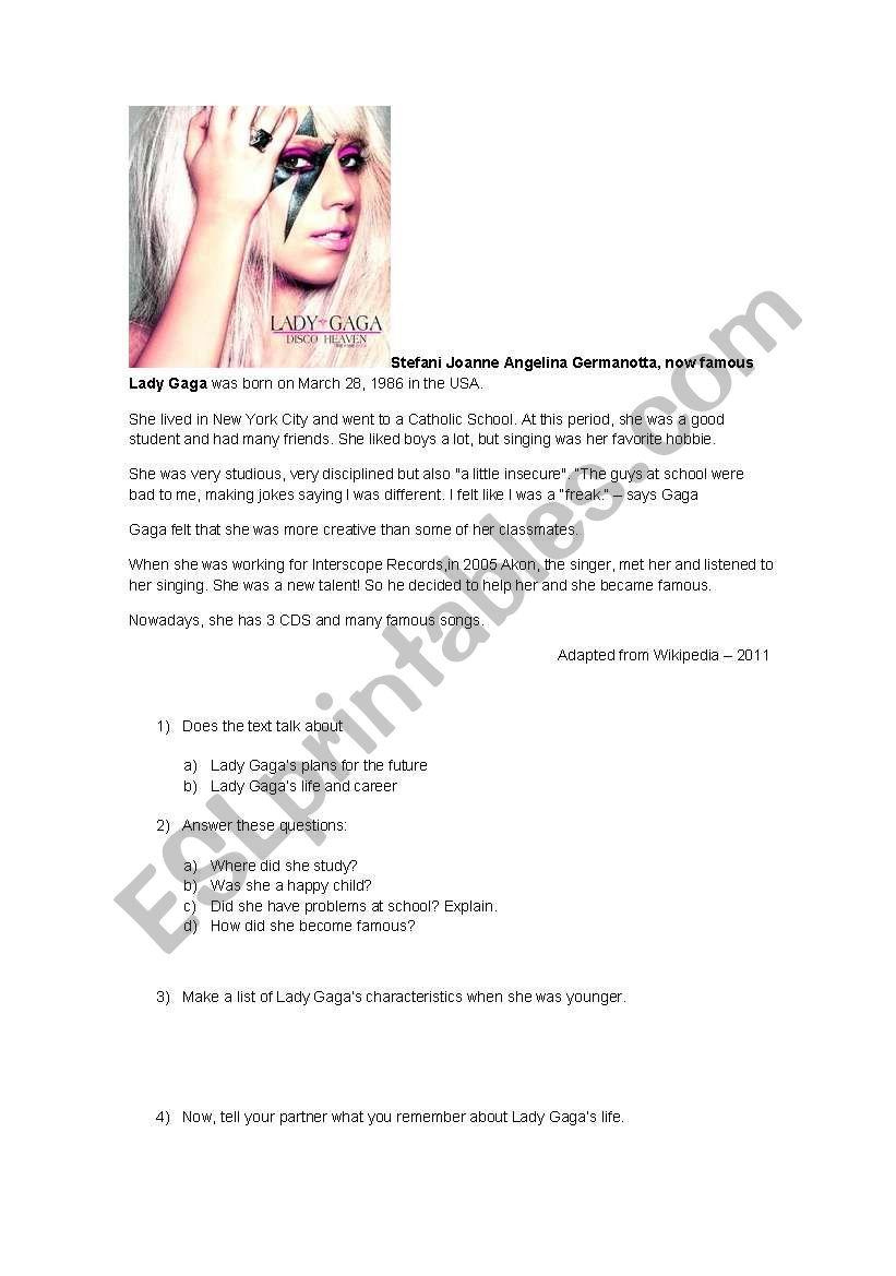 Reading about Lady Gaga - ESL worksheet by katlinlemos10