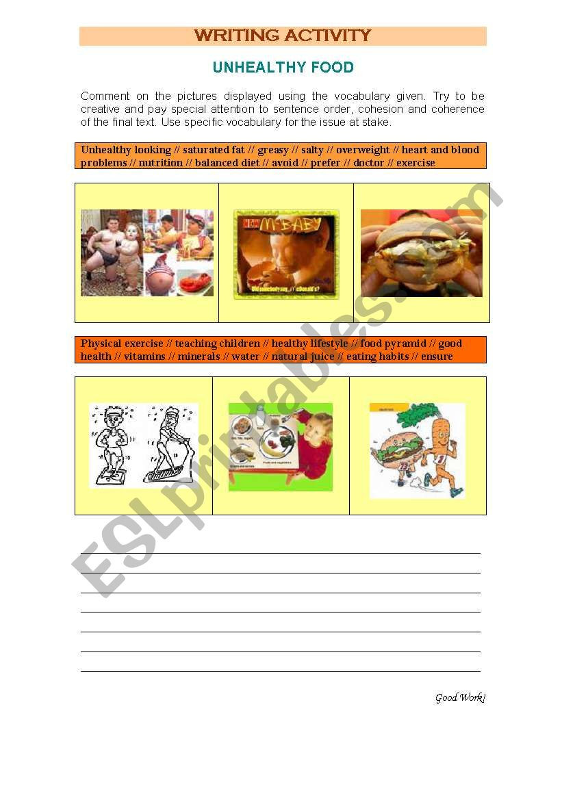 Healthy Food Vs Unhealthy Food Esl Worksheet By Luciaraposo