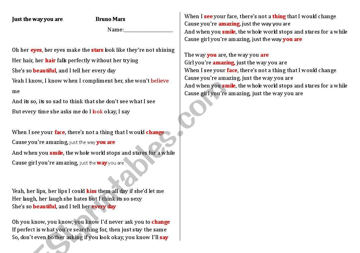 English worksheets: just the way you are fill in the blanks