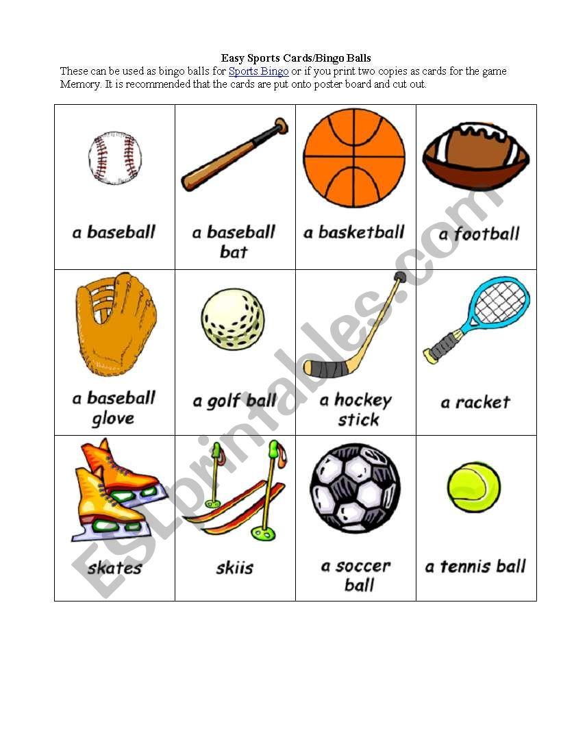 esl sport bingo esl worksheet by tcardozo. Black Bedroom Furniture Sets. Home Design Ideas
