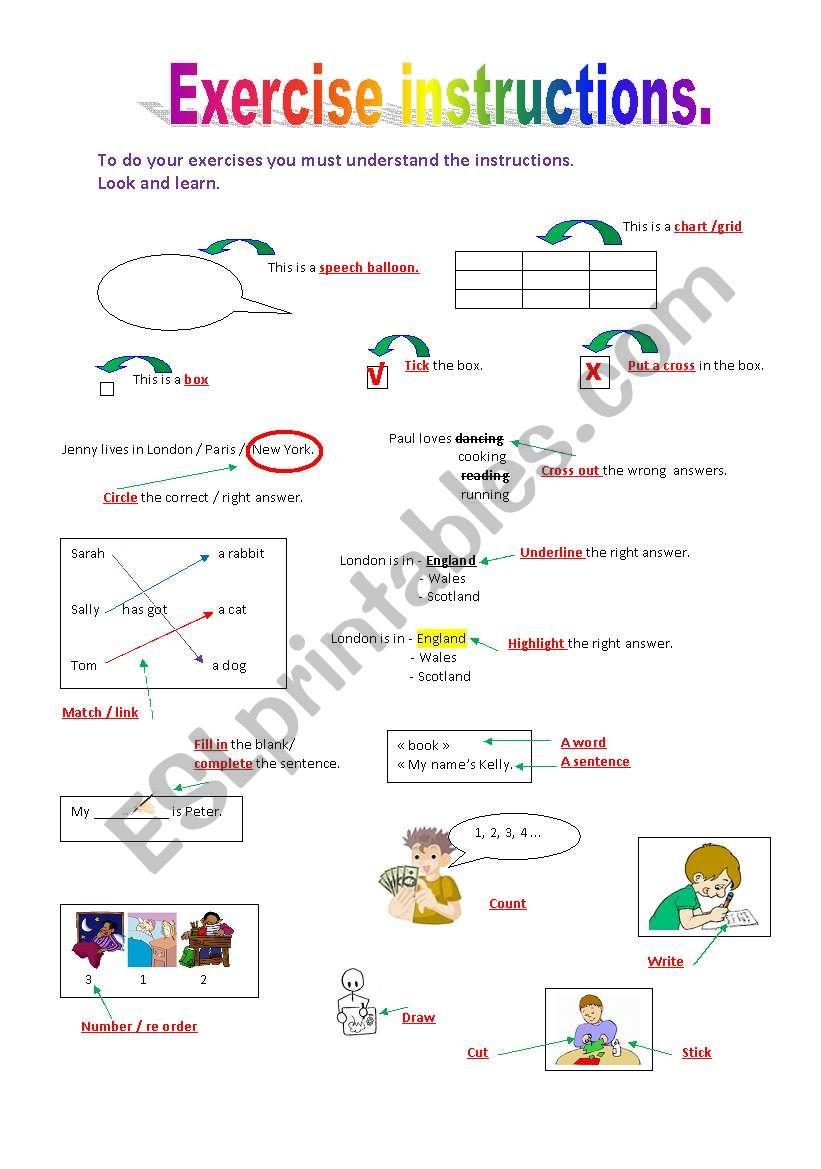 Exercises Instructions Esl Worksheet By Reb77