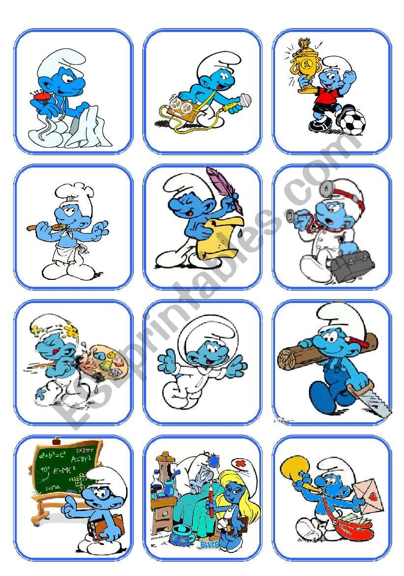 Flashcard Jobs with the smurfs