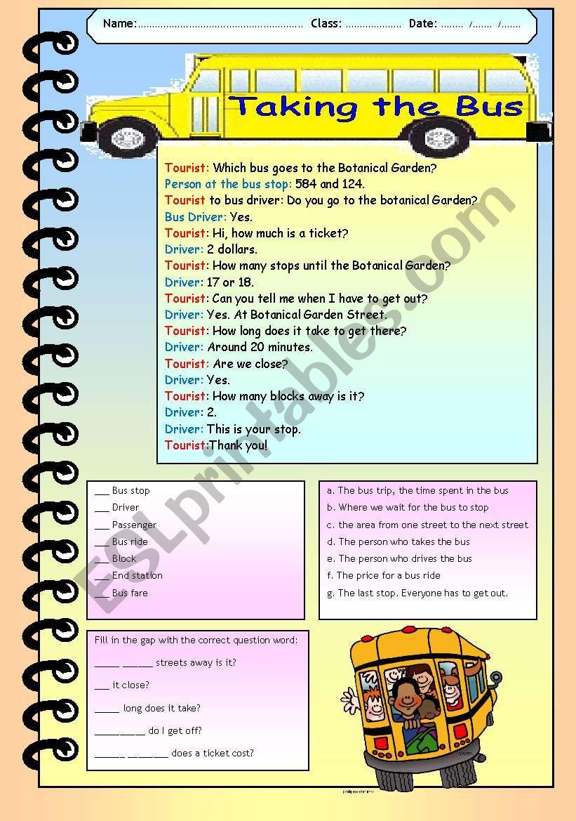 Taking the Bus worksheet