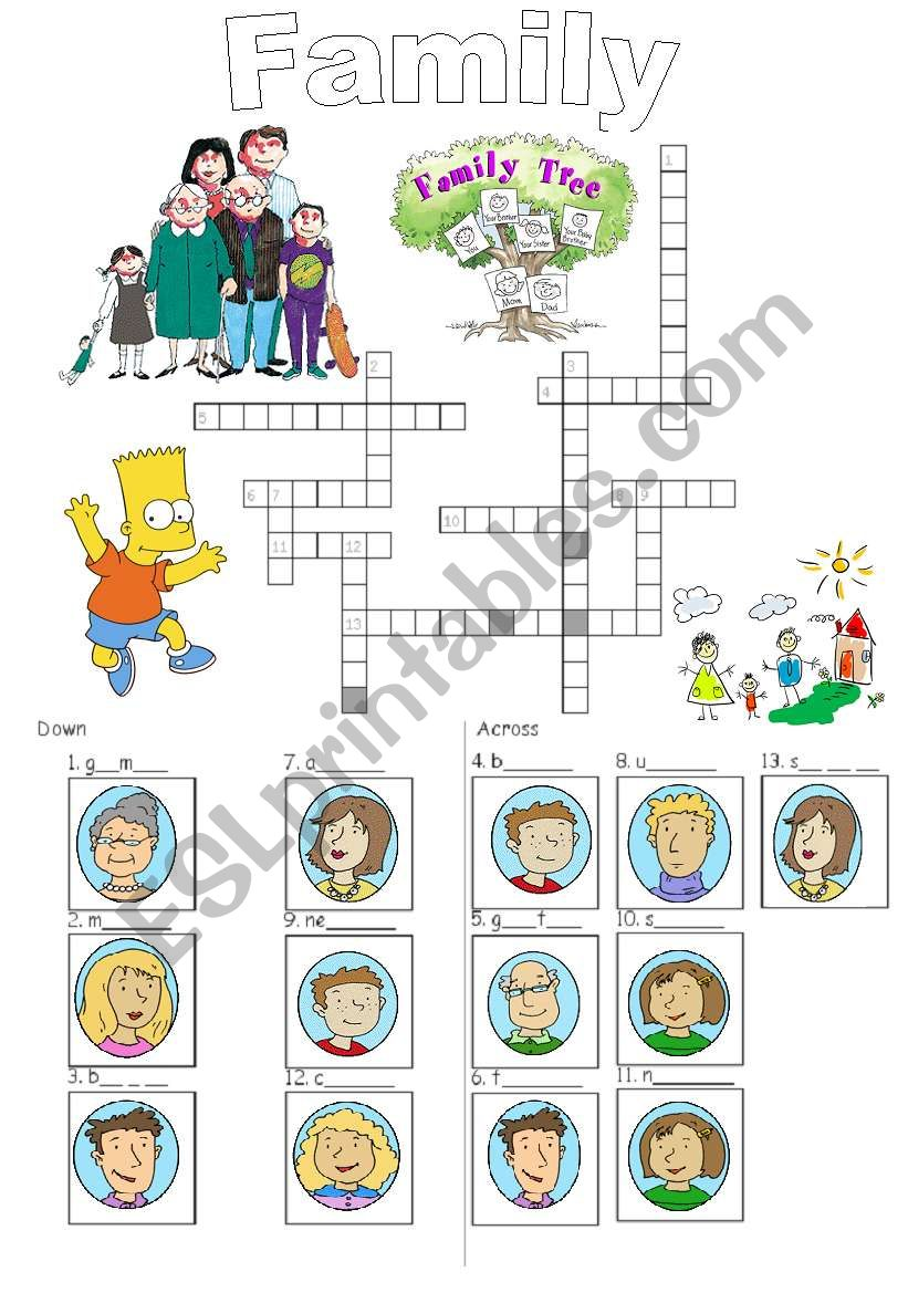 Family crossword_easy worksheet