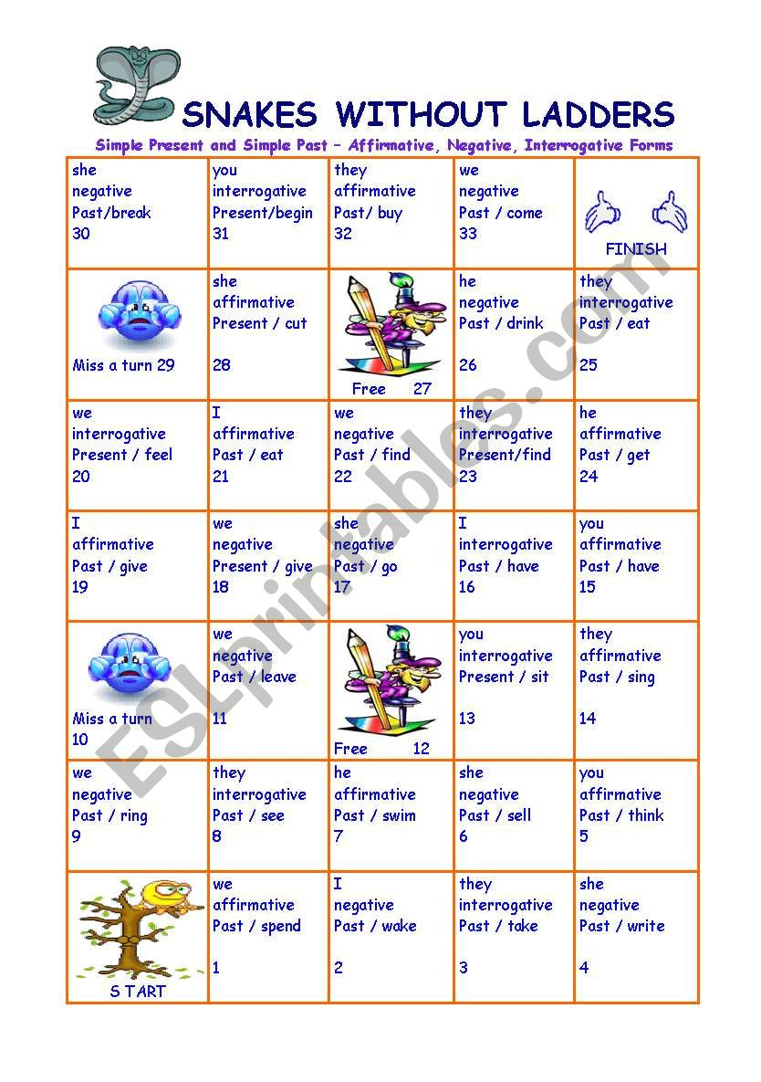 Snakes without ladders worksheet
