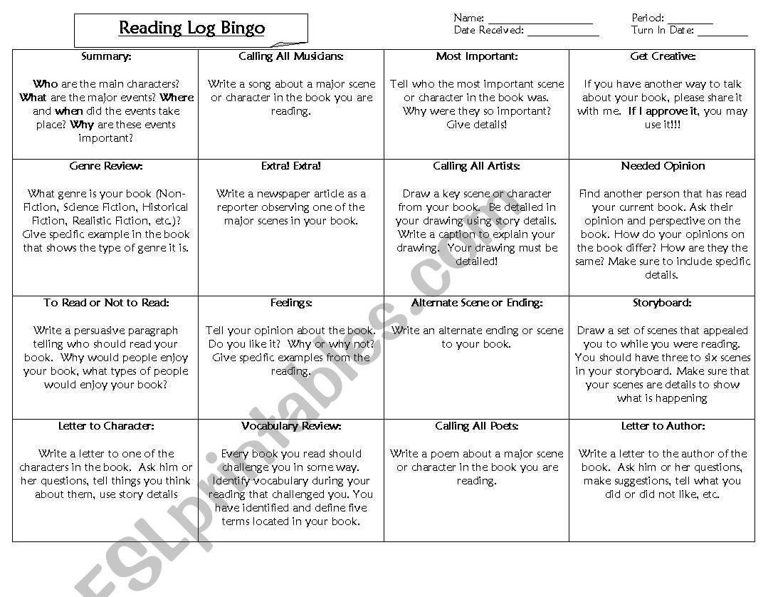 Reading Log Bingo worksheet