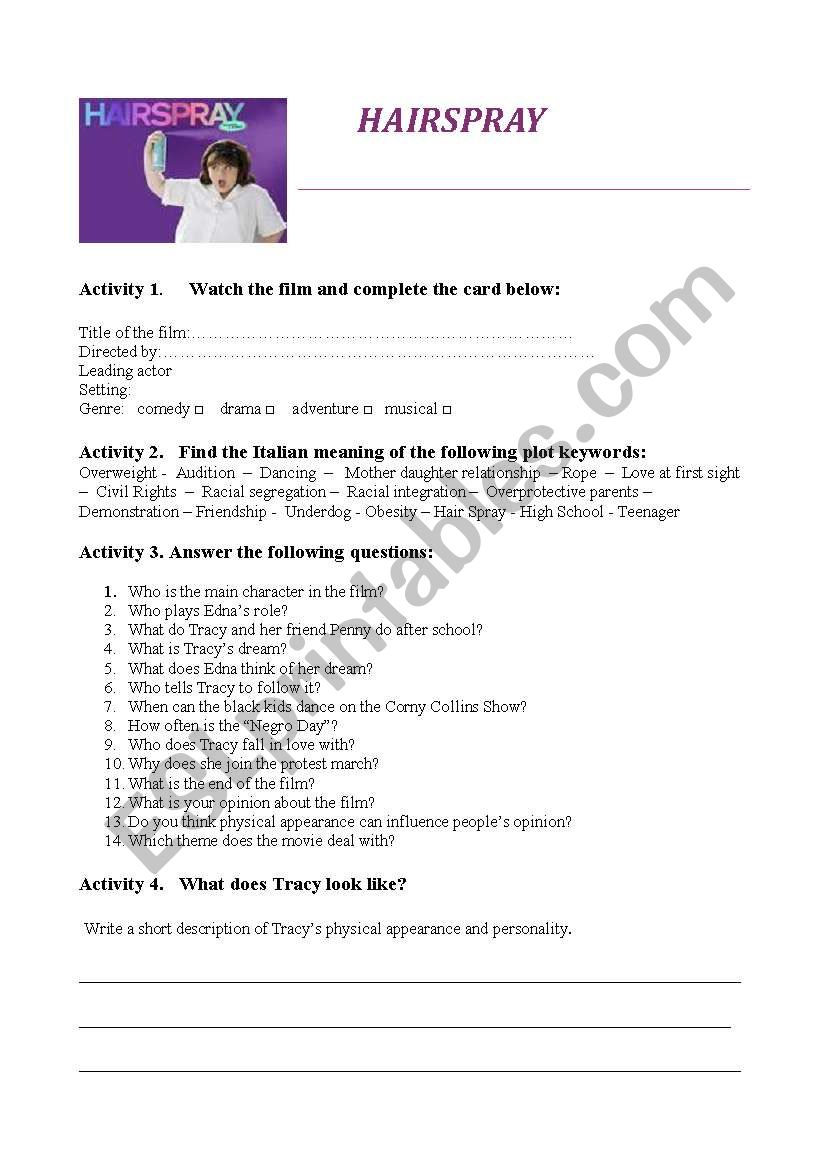 Hairspray worksheet