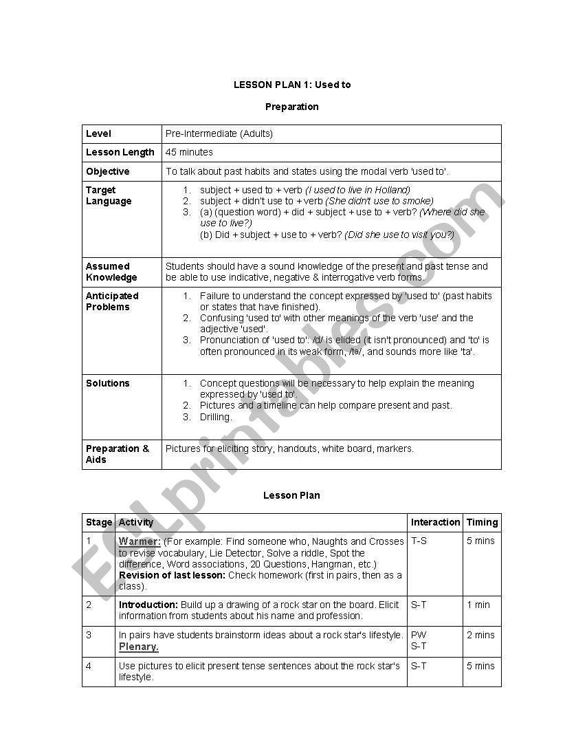 Tefl Lesson Plan Samples Esl Worksheet By Tcsly