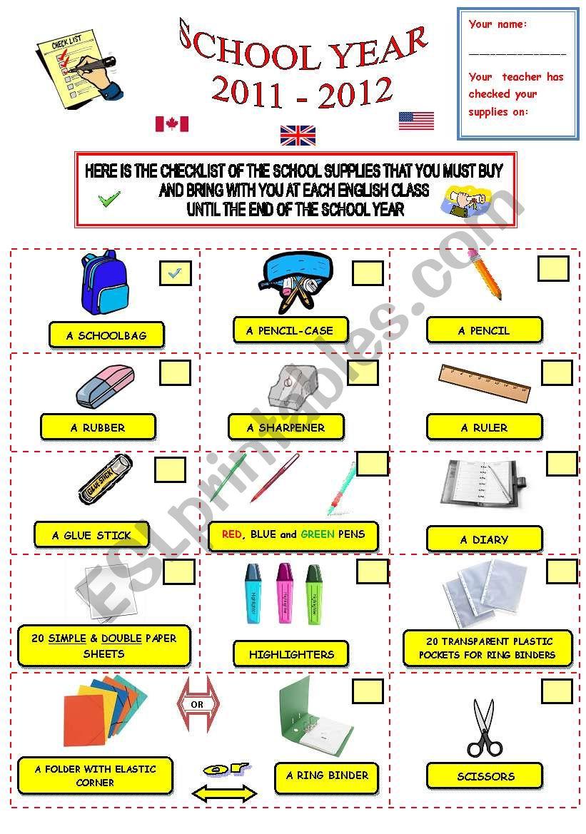 SCHOOL SUPPLIES CHECKLIST * EDITABLE DOCUMENT*