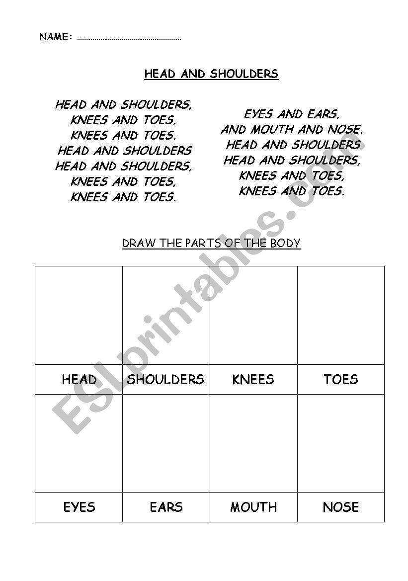 Song Head and Shoulders worksheet