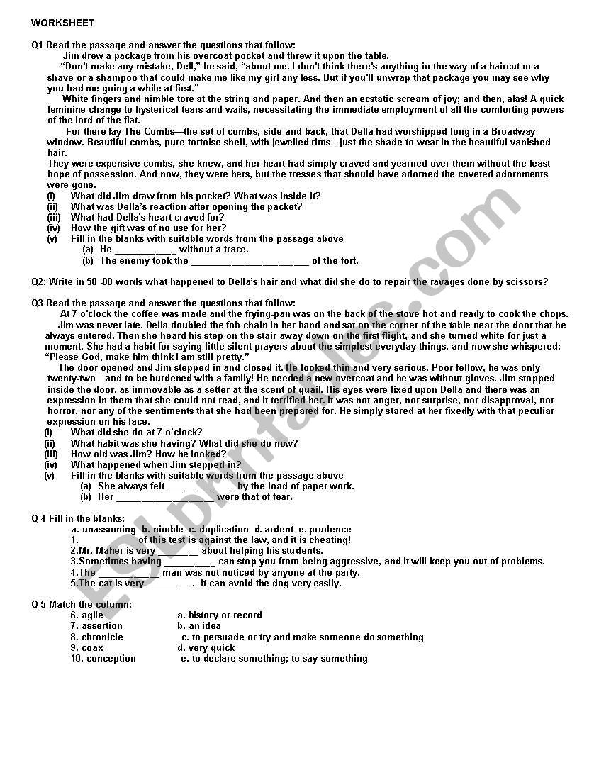 worksheet on the gift of the magi by o180henry esl