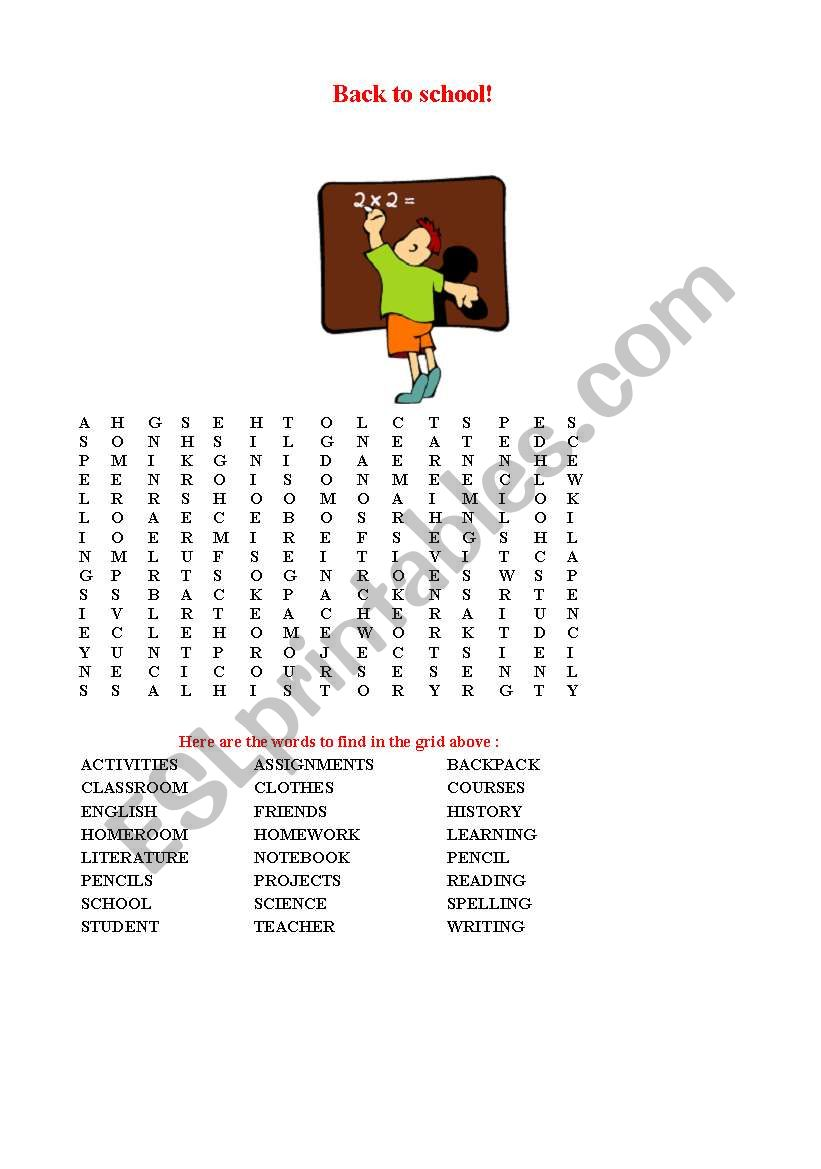 picture about Back to School Crossword Puzzle Printable named English worksheets: Back again In direction of Faculty Crosswords