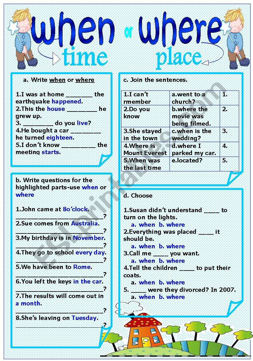 English worksheets: when-where