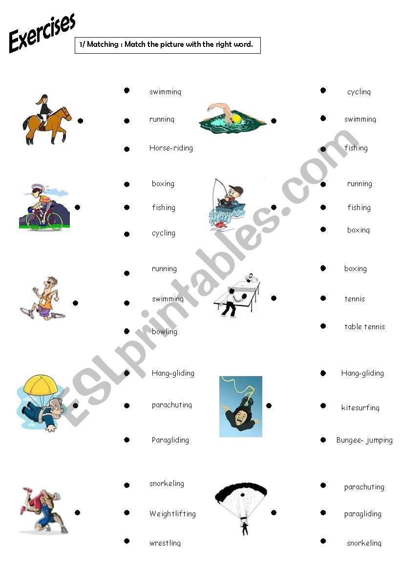 sports exercises esl worksheet by elo8577. Black Bedroom Furniture Sets. Home Design Ideas