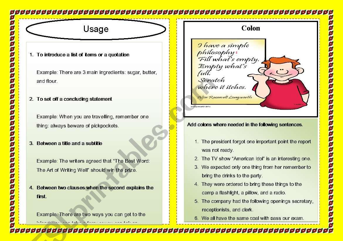 Punctuation Series: Colon worksheet