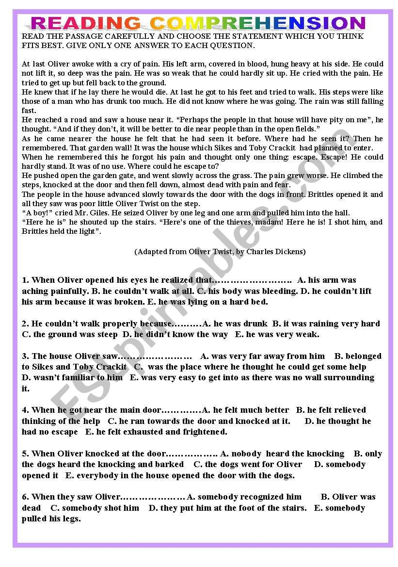 - Reading Comprehension - Oliver Twist - ESL Worksheet By Tagoreluz1